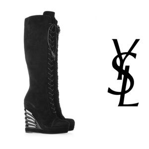 YVES SAINT LAURENT Lace-up suede wedge knee boots